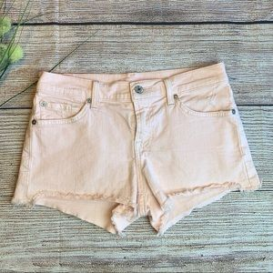 7 for All Mankind Raw Hem Light Pink Shorts